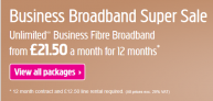 Unlimited Business Fibre Broadband £21.50 a month for 12 months when taken with line rental